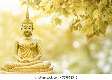 Magha Asanha Visakha Puja Day, estatua de Buda, hoja de bodhi con doble exposición y len acampanado, imagen suave y estilo de enfoque suave