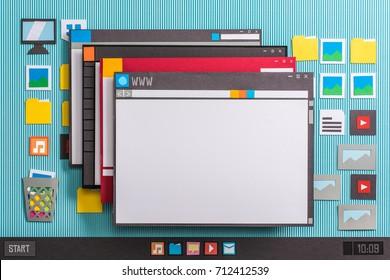 La interfaz de la computadora del sistema operativo y múltiples ventanas de aplicaciones se abren en el escritorio