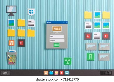 Inicio de sesión de usuario y ejecución de la aplicación al inicio en una interfaz de computadora, composición de collage y corte de papel