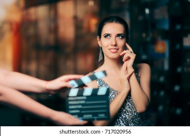 Glamorous Model Starring in Fashion Campaign Video Commercial - Brand ambassador diva endorsing a fashionable brand while shooting in a studio