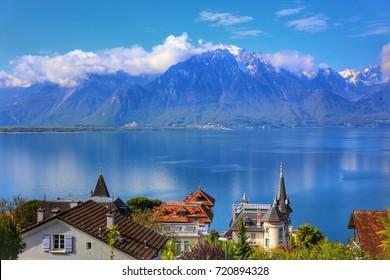 Swiss Riviera Montreux, el lago de Ginebra y la montaña de los Alpes a lo largo de la línea Golden Pass, Suiza