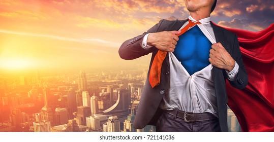 Superhéroe de negocios. Técnica mixta