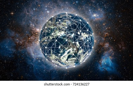 Global network over the world with glowing light Element of this image furnished by NASA