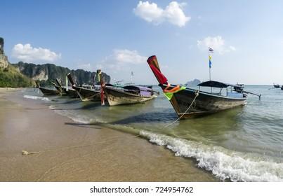 Traditional Thailandese Long Tail Boat at Ao Nang Beach, Krabi, Thailand