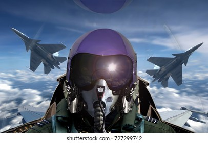 Fighter pilot cockpit view during sunrise