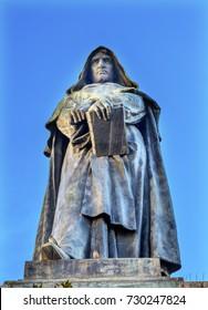 Giiordanoブルーノ像カンポデフィオリローマイタリア。ブルーノはカンポ・デ・フィオーリで火刑に処されました。1889年のフェラーリの像