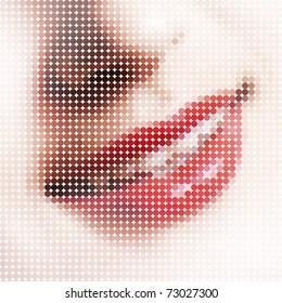 Sonrisa, compuesta de pequeños píxeles. Estilizar Pop-Art