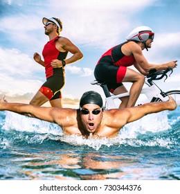 トライアスロン水泳バイクは、トライアスリート男がアイアンマンレースコンセプトのトレーニングを実行します。フィットネスアスリートのランニング、サイクリング、海での水泳の3つの写真を組み合わせたもの。プロのサイクリスト、ランナー、スイマー。