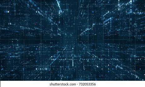 Hintergrund der digitalen Binärcode-Matrix - 3D-Rendering eines Binärcode-Netzwerks für wissenschaftliche Technologiedaten, das Konnektivität, Komplexität und Datenflut des modernen digitalen Zeitalters vermittelt