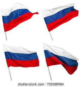 Russland-Flagge, die auf weißem Hintergrund weht