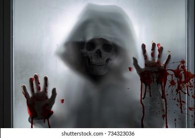 black and white,horror skull in halloween concept