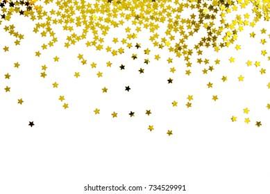 金の星の装飾のグループクリスマス幸せな新年の上面図の白い背景オブジェクトデザインに分離