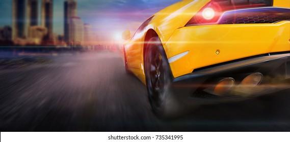 Speeding with sport car in city