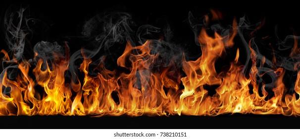Het patroon van vuur op een zwarte achtergrond.