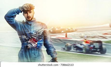 Kart überquert den Ziellinienrennfahrer. Rennauto