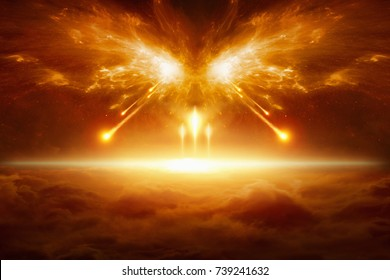 Apocalyptic religious background - end of the world, battle of armageddon, forces of evil destroy humanity. Elements of this image furnished by NASA