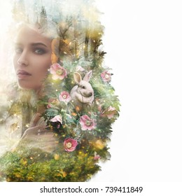 Visual digital art. Fairytale young woman portrait. Double exposure effects. Wood nymph surrounded by animals in a magical forest full of lights. Fantasy creature elf in magic wood. Book cover concept