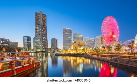 Yokohama, Japan city skyline Minato Mirai at night.