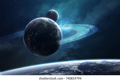 Ringed planet in deep space. Science fiction fantasy in high resolution ideal for wallpaper and print. Elements of this image furnished by NASA