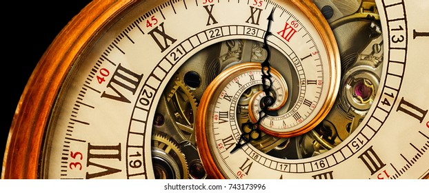 Golden yellow antique old clock spiral abstract fractal. Retro surreal clock with mechanism in the background. Time spiral concept image poster Unusual watch with roman arabic numerals and clock hands