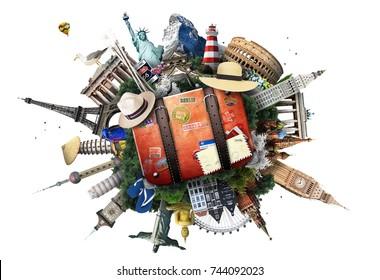 Viajes y turismo, puntos de referencia mundiales y maleta