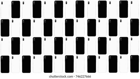 Großer Hintergrund mit modernen Smartphones. Schwarze und weiße Handymodelle mit zwei Kameraobjektiven. Moderne Smartphones (wie das neue Iphone X). Zwei neue Handys, die als Hintergrundbild verwendet werden