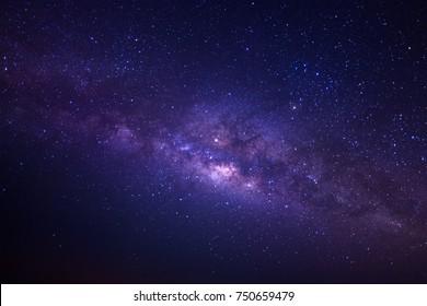Milchstraßengalaxie mit Sternen und Weltraumstaub im Universum, Langzeitbelichtung, mit Körnung.