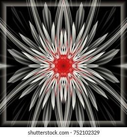 Flor fractal 3D generados por computadora.