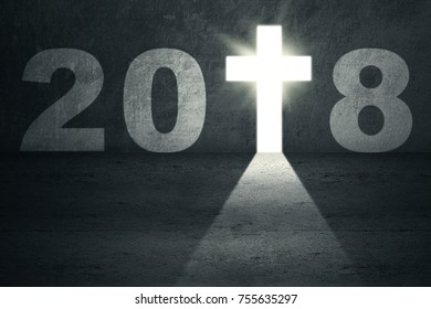 Image of numbers 2018 with a bright crucifix shaped a doorway. New Year 2018 concept