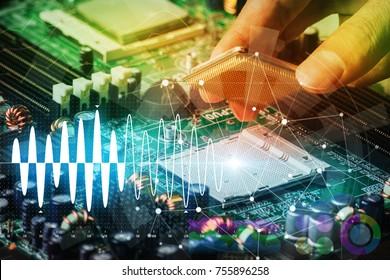 Placa de circuito electrónico y concepto de tecnología de la información digital.
