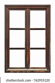 Ventana de madera marrón antigua sobre fondo blanco.