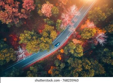 Luftaufnahme der Straße mit unscharfem Auto im Herbstwald bei Sonnenuntergang. Erstaunliche Landschaft mit Landstraße, Bäume mit roten und orange Blättern am Tag. Autobahn durch den Park. Draufsicht von fliegender Drohne. Natur