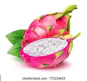 Drachenfrucht, Pitaya lokalisiert auf weißem Hintergrund mit Beschneidungspfad