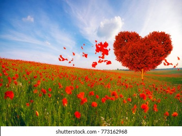 Red heart shaped tree-symbol of love and  Valentine's Day