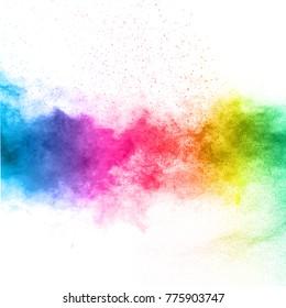 Die Explosion von mehrfarbigem Pulver. Schönes Regenbogenfarbpulver fliegt weg. Die Wolke des leuchtenden Farbpulvers auf weißem Hintergrund