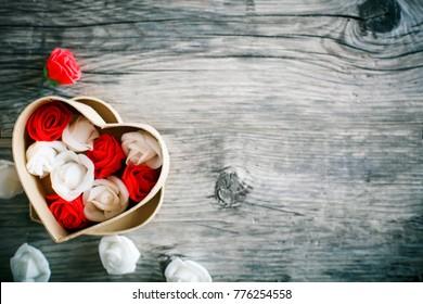 バレンタインの日カード。母の日。梨花の日。セレクティブフォーカス。コピースペースの背景。