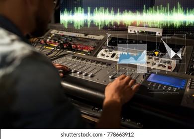 音楽、技術、人と機器のコンセプト-スタジオでミキシングコンソールの録音トラックを持つサウンドエンジニア