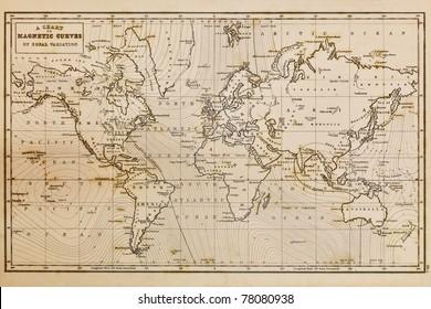 Foto einer echten handgezeichneten Weltkarte, sie wurde 1844 gezeichnet und daher werden die Länder so benannt, wie sie im 19. Jahrhundert waren. Die Färbung ist ein Ergebnis des natürlichen Alterungsprozesses