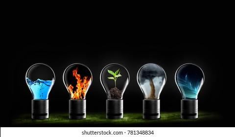 cinco elementos de la naturaleza fuego, tierra, aire, agua y cielo