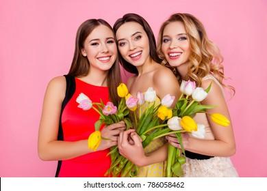 Hübsches, nettes, charmantes, erfolgreiches Trio von Mädchen in Kleidern mit Frisur, mit bunten Tulpen in den Händen, Blick in die Kamera, Feiern des 8. März, Frauentag, Stehen über rosa Hintergrund