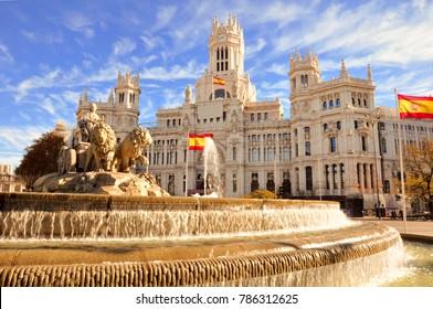 Der berühmte Cibeles-Brunnen in Madrid, Spanien