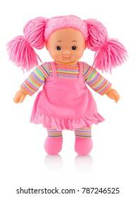 Pinky muñeca de peluche aislado sobre fondo blanco con sombra de reflexión. Cute pinky trapo muñeca sobre fondo blanco.