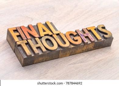 pensamientos finales palabra tipografía abstracta en tipo de madera vintage lettepress