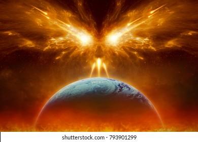 Religiöser apokalyptischer Hintergrund - Jüngster Tag, Ende der Welt, vollständige Zerstörung des Planeten Erde, absolutes Übel, Mächte des Bösen zerstören die Menschheit. Elemente dieses Bildes von der NASA eingerichtet
