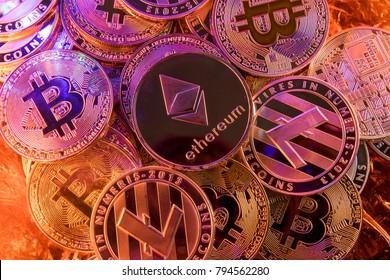 Ethereum op een stapel cryptocurrency
