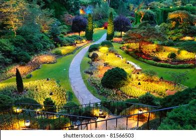 summer night scene of beautiful garden at butchart gardens, victoria, british columbia, canada