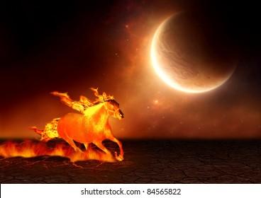 宇宙の背景を持つひびの入った土地を走る火の馬