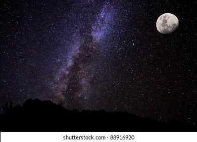 Milky Way Galaxy and Moon, Amazing Night Sky
