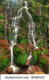 Beautiful cascading Bakthang waterfall in the Himalayan valley in Sikkim, India