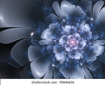Beautiful abstract fractal flower, blue color